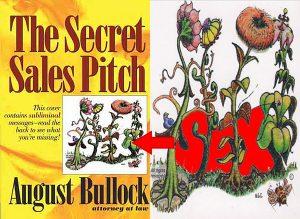 """Subliminal kitap kapağı. Çiçeklerin arasında """" sex"""" yazıyor."""