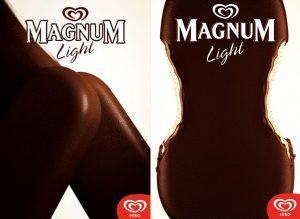Subliminal Magnum reklamı. Dondurmalar kadın vücuduna benzetilmiş.