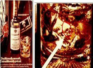 Subliminal viski markası reklamı. Buzdaki kurukafa.