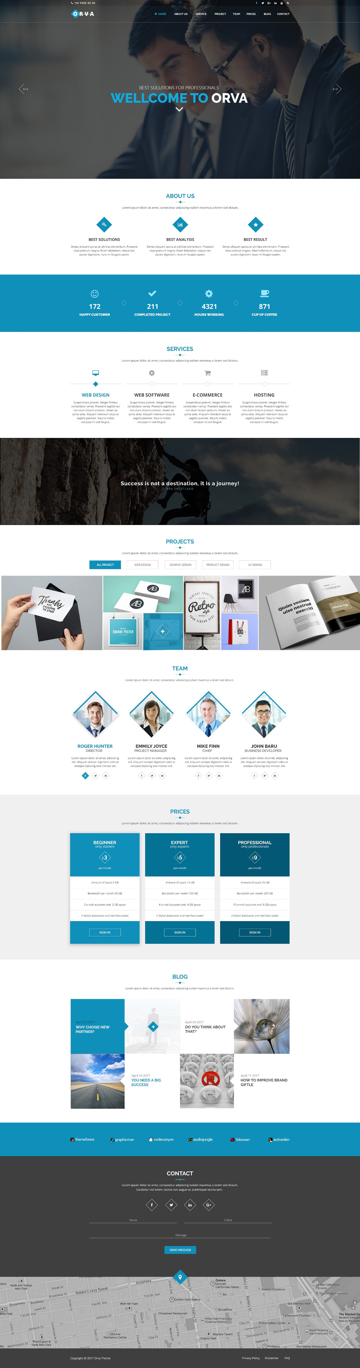 orva themeforest one page corporate psd template kurumsal tema serdar sezer